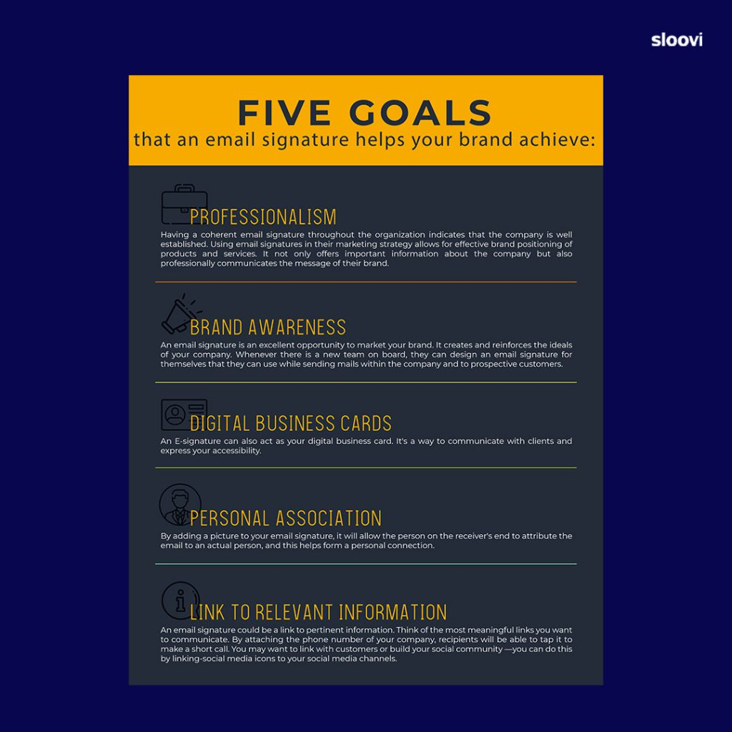 Here are five goals that an email signature helps your brand achieve: